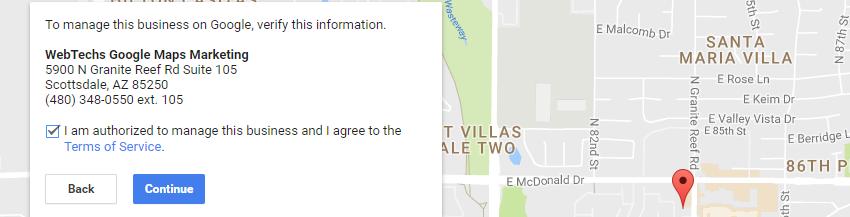 I am authorized to manage this Google Maps Listing