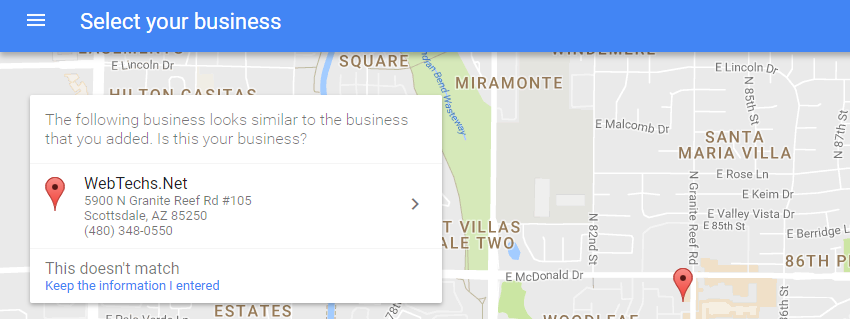 The following business looks similar to the business that you added. Is this your business